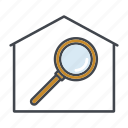 home, house, magnifying glass, property, real estate, realty, search