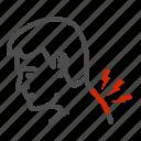 neck, pain, man, back, avatar, crick, head icon
