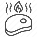grill, meat, oktoberfest, hot, piece, flame, fried icon