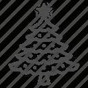 tree, fir, christmas, star, garland, decoration, plant