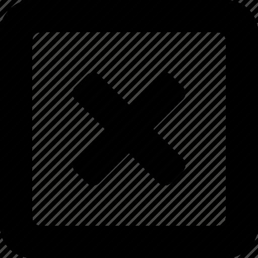 cancel, close, cross, delete, exit, remove, square icon