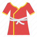 bath gown, bathrobe, housecoat, kimono, robe icon