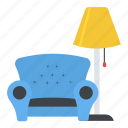 couch, home interior, lamp, living room, sofa icon