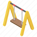 amusement park, kids fun, kids swing, park swing, playground swing icon