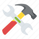 hammer, handyman, spanner, work tools, wrench icon