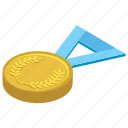 award, emblem, gold medal, medal, winner icon
