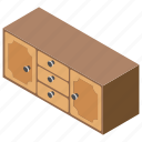 cabinet, counter, drawer, furniture, rack icon