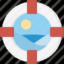 afloat, buoyant, float tube, inflatable, kisby ring, lifebelt, ring icon