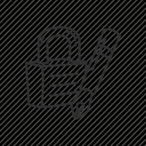 lock, lock and pen, padlock, pen, safe, security, tool icon