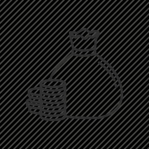 bag, bag and coins, cash, coins, finance, money, money bag icon