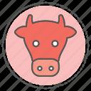 animal, cow, face, farm, head icon