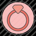 alarm, diamond, heart, ring, wedding icon