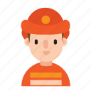 boy, career, costume, firefighter, job, man, occupation icon