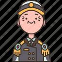 captain, navy, military, uniform, commander icon