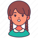 avatar, girl, student, user, young, child, kid