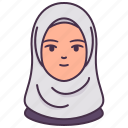 arab, avatar, female, hijab, islam, people, woman icon