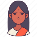 avatar, female, indian, people, user, woman, young icon