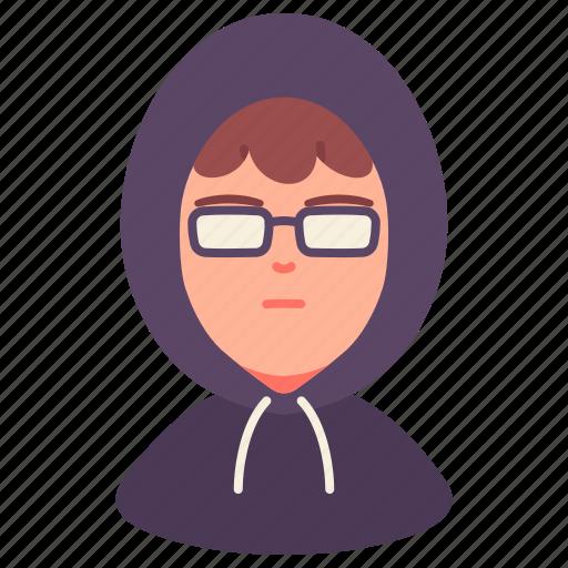 avatar, glasses, hacker, hood, man, people, user icon
