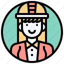 control, engineer, female, hardhat, industry icon