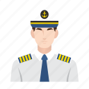 captain, cruise, job, man, occupation, people, ship icon