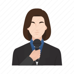 job, news, news anchor, occupation, people, reporter, woman icon