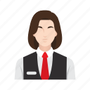business, hotel, job, occupation, people, receptionist, woman icon