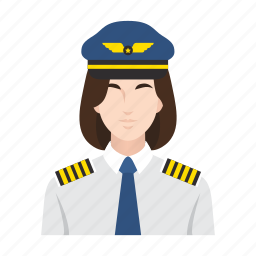 airplane, flight, job, occupation, people, pilot, woman icon