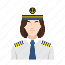 cruise, job, occupation, people, ship, ship captain, woman icon