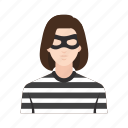 criminal, hacker, job, occupation, people, thief, woman icon