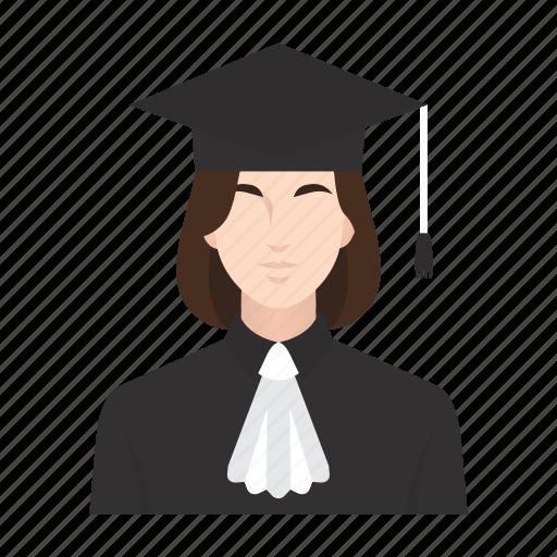 education, graduation, job, lecturer, occupation, people, woman icon