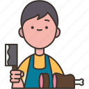 butcher, meat, shop, apron, kitchen icon
