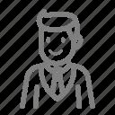 man, manger, staff, suit icon