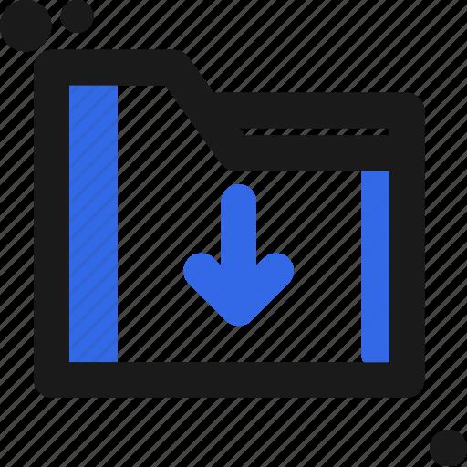 arrow, down, file, folder, organize, save icon