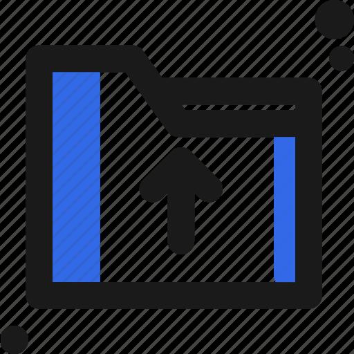arrow, file, folder, organize, save, up icon