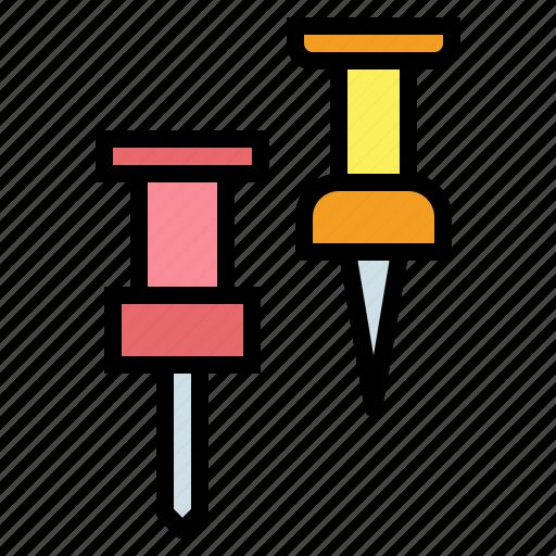 attach, attachment, material, office, pin, push icon