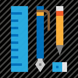 eraser, pen, pencil, ruler, stationary icon