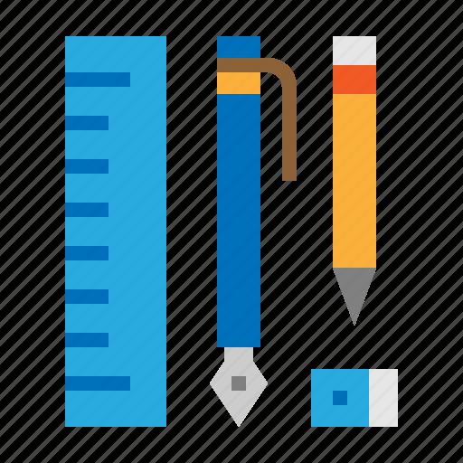 Eraser, pen, pencil, ruler, stationary icon - Download on Iconfinder