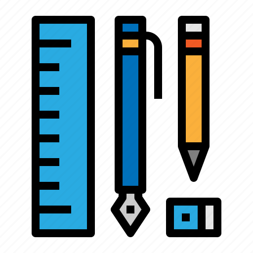 eraser, pen, pencil, ruler, stationary icon