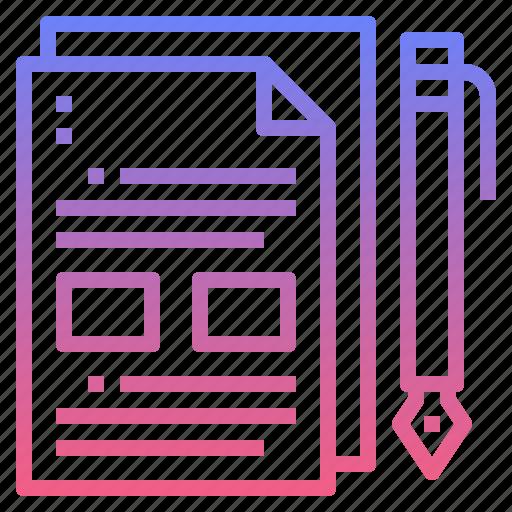 document, file, paper, pen icon