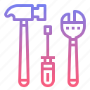 hammer, screwdriver, service, tool, wrench