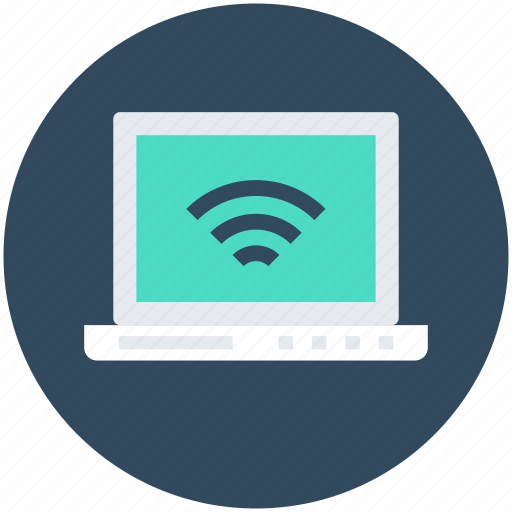 internet connected, laptop, wifi connection, wifi signals, wireless internet icon