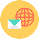 email, envelope, globe, letter, mail icon