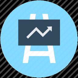 business presentation, chalkboard, easel, graph presentation, presentation board icon