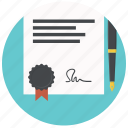 certificate, contract, degree, diploma, document, license, patent icon