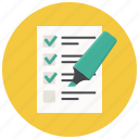 checklist, document, form, highlighter, list, report, test icon