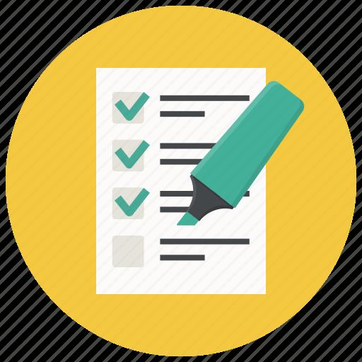 checklist, document, form, highlighter, list, report, test icon