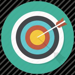 arrrow, bullseye, center, dart, goal, shooting, target icon