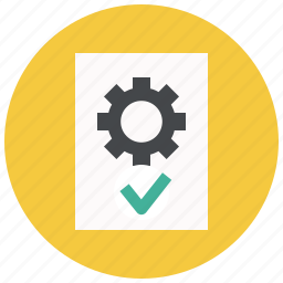approve, document, file, gear, page, settings, text icon