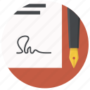 agreement, contract, document, paper, pen, sign signature icon