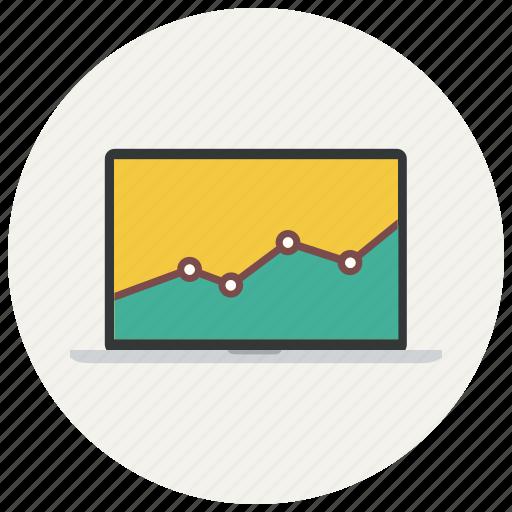analytics, bar, chart, diagram, graph, macbook, report, statistics icon